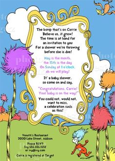 Dr.Seuss, Lorax,  Baby Shower Invitation - PRINTABLE INVITATION DESIGN. $10.00, via Etsy.