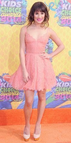 @Who What Wear - Lea Michele's flirty lace dress. Good color!