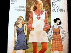 Women's Vintage 1970s Jumper or Dress Pattern Misses size viewed on Etsy by PatternsFromThePast