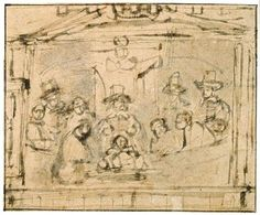 sketch for  Dr Deijman's Anatomy Lesson, 1656, by Rembrandt van Rijn