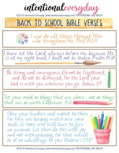 5 Essential Back to School Bible Verses « intentionaleveryday Bible Verses For Kids, Encouraging Bible Verses, Printable Bible Verses, Favorite Bible Verses, Kids Bible, New Year Bible Verse, Back To School Prayer, New School Year, School Days