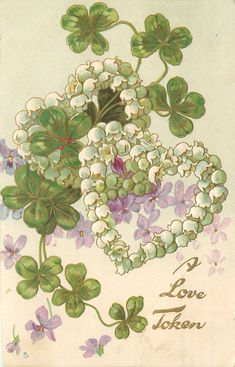 Full Sized Image: A LOVE TOKEN heart of white lilies-of-the-valley overlays shamrocks & violets - TuckDB