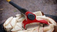 Vipukirves - this axe uses a thin sharp point to dig in, plus the extra weight off to the side helps keep the momentum down and into the wood. The rotational motion also limits deflecting and jarring.