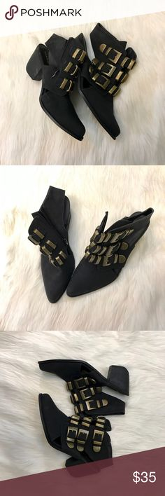 Torrid Triple Brass Buckled Booties Torrid size 12W, and only worn briefly one time - these shoes are ready to go out on the town. They're gorgeous - super cool, and very different. They have a sling back, which means they're partially open. Plus the have a zippered enclosure which makes them easy to slip on and off. They have a great chunk heel which make them comfortable and chic to walk in - all day long! Wear them with a cute dress for a trendy look, or throw them on with cuffed pants…