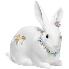 Lladro Collectible Figurine Attentive Bunny with Flowers ($205) ❤ liked on Polyvore featuring home, home decor, holiday decorations, easter, decor, animals, easter items, rabbit, easter figurines and white home decor