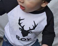 Baby Boy Buck Printed AMERICAN APPAREL Baseball Tshirt by DearCub, $17.00  #KIDS