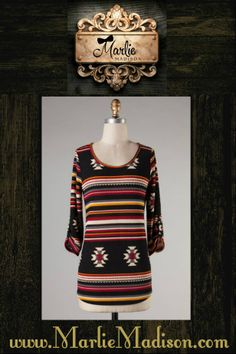 + Aztec Bold 3/4 Sleeve Top http://www.marliemadison.com/tops