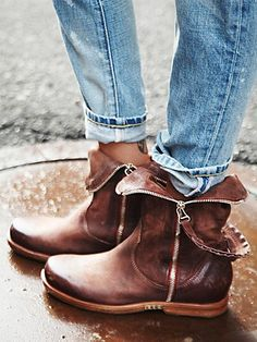 Dagny Ankle Boot | Washed leather zip trim ankle boots with cool grommeted holster pull, which slides along zip closures on each side. Durable soles.   *By A.S.98.  *Soft leather from Italian tanneries and handmade finishes meet with select colors and solid lasts. Each shoe and bag is unique with a rough, strong statement. All but boring and replaceable.  *All materials and components are from Italy and exported for manufacturing.
