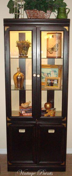Forever Black Striped Cabinet  Painted Furniture---Vintage Paints