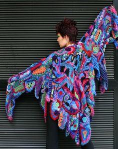 freeform knit and crochet shawl created by Prudence Mapstone for a yarn trade show fashion parade www.knotjustknitting.com