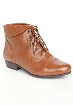 Wide Width Darcy lace-up wide width bootie by Comfortview® | Boot Sale up to 70% off from Jessica London