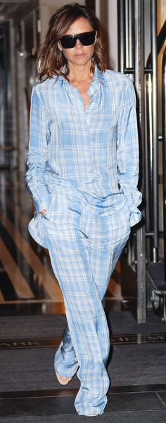 Victoria Beckham in blue printed pajamas - click through to see more street style!