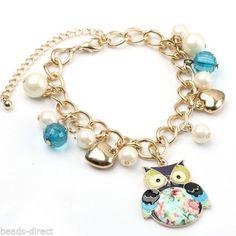 Fashion-Various-Multi-layer-Dangle-Charms-Bead-Bracelet-Girls-Womens-Bangle-Gift