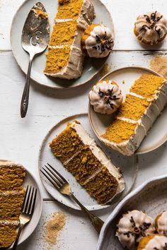 Chai Pumpkin Cake with Maple Browned Butter Frosting | halfbakedharvest.com #pumpkin #chai #fall #autumn #thanksgiving Pumpkin Recipes, Fall Recipes, Sweet Recipes, Pumpkin Cakes, Thanksgiving Recipes, Thanksgiving Baking, Carrot Cakes, Fall Desserts, Just Desserts
