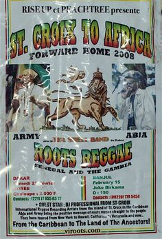 St. Croix to Africa. Flyer from #Abja & #Army show in Africa. #ROOTS#REGGAE#VI REGGAE