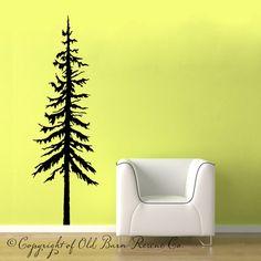 22x66 Large Pine Tree... vinyl wall by OldBarnRescueCompany