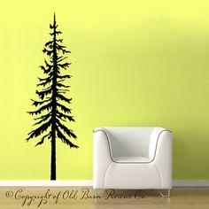 22x66 Large Pine Tree... vinyl wall graphic design custom decor art decals custom old barn rescue