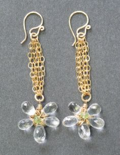 Venus 142 Green Amethyst Flower Earrings by CalicoJunoJewelry, $98.00