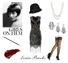 """Louise Brooks"" by geminae ❤ liked on Polyvore featuring Urban Decay, Brooks, Anne Klein, Betmar, vintage, Halloween, 1920s and LouiseBrooks"