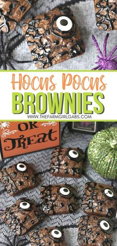 These Hocus Pocus Brownies will definitely put a delicious spell on you. These spellbinding brownies are the perfect spell to make for Halloween. This brownie recipe is an easy Halloween dessert. This Halloween snack recipe is spooky and fun! Get the kids involved in the kitchen. They can help make this easy Halloween recipe.