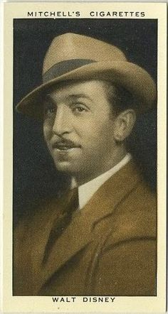 """In a little while TCM begins an evening of Treasures from the Disney Vault. Unfortunately, I don't have any animation images on hand, so we're going to go a different way tonight. But first, here's Walt, pictured on a 1936 Stephen Mitchell & Son """"A Gallery of 1935"""" tobacco card. While there are movie stars in this set, it's more of a general set of personalities and public figures of the day. Gallery here…"""