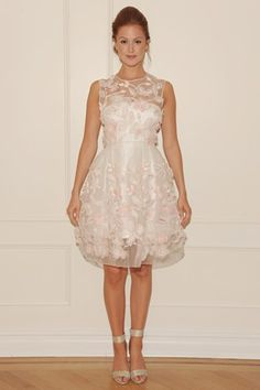 Randi Rahm Fall 2014: flower embroidery, short, sheer neckline, wedding dress. Very cheerful frock for a casual wedding or as a second dress.