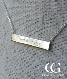 Personalised necklace with a special engraved message. Ideal personalised gift for your newly wedded friend. Silver Pendant Necklace, Silver Jewelry, Dog Tag Necklace, Arrow Necklace, Personalized Necklace, Initials, Pendants, Chain, Bracelets