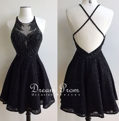 Stylish black lace beading short prom dress, homecoming dresses
