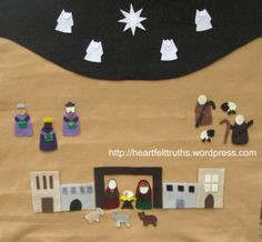 felt nativity advent calendar - free template and story - every night, read a part of the Christmas story and add that person/animal/object to the board to build the scene and prepare for Christmas