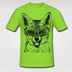 Mens Red Fox Print Slim Fit Cotton T Shirt. by WinkinBitsyClothing