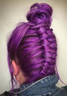 47 Perfect Purple Braids with Top Knot Bun in 2018. Searching for best styles of braids with suitable hair colors? See here the most amazing trends of top knot bun with purple braids if you are seriously looking for unique hair colors and cuts. You may learn here how to add a stylish twist on top knot updos and bun. Amazing ideas for quick, fashionable and latest look.