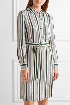 Tory Burch - Villa Striped Satin-twill Dress - Blue