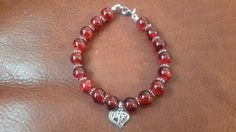 valentine bracelet red crackled glass beads charm by buybling