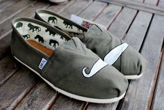 Olive Green Mustache TOMS by BStreetShoes on Etsy, $79.00