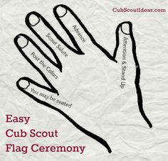Easy Cub Scout Flag Ceremony - - Are you looking for a Cub Scout flag ceremony that will be easy for Scouts to remember? Check out this Five Finger Flag Ceremony--perfect for Cub Scouts! Cub Scouts Wolf, Tiger Scouts, Girl Scouts, Scout Mom, Cub Scout Crafts, Cub Scout Activities, Scout Games, Stem Activities, Cub Scout Flag Ceremony