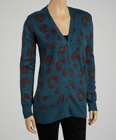 Take a look at this Teal Leopard Cardigan by Lucca Couture on #zulily today!