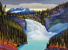 Kinuseo Falls View by Nicholas Bott Landscape Illustration, Landscape Art, Landscape Paintings, Illustration Art, Landscapes, Illustrations, Canadian Painters, Canadian Artists, Van Gogh Art