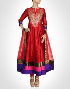 Red hued beautiful raw silk anarkali adorned with beautiful sequin, thread embroidery & bugle bead embellished yoke. Shop Now: www.kimaya.in