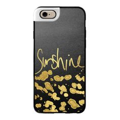 "iPhone 6 Plus/6/5/5s/5c Metaluxe Case - You are My ""Sunshine"" Text... ($50) ❤ liked on Polyvore featuring accessories, tech accessories, phone cases, iphone case, gold iphone case, apple iphone cases and iphone cover case"