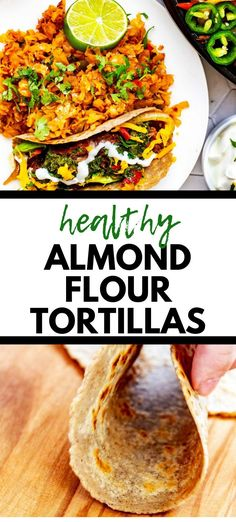 "This Almond Flour Tortilla Recipe is simple to make and is the perfect soft, pliable tortilla for tacos, quesadillas, and wraps. You won't believe how much like the ""real thing"" these are in taste and texture. Try them once, and you will be hooked! Lunch Recipes, Easy Dinner Recipes, Low Carb Recipes, Real Food Recipes, Almond Flour Tortilla Recipe, Recipes With Flour Tortillas, Low Carb Bread, Vegetarian Cooking, Quesadillas"