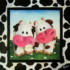 """""""Taches de vaches"""" - Peinture acrylique sur toile - 30x30 cm - 2005 - Myriam Lakraa Créations"""