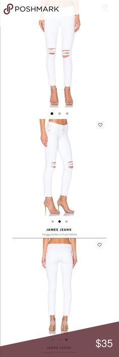 """NWOT James jeans white ankle skinny jeans New James jeans , white ankle skinny jeans """"twiggy"""" . Distressed style , mid rise . Size 29 James Jeans Jeans"""