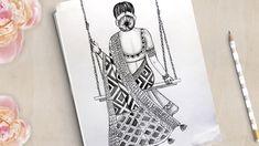 3d Art Drawing, Dark Art Drawings, Girly Drawings, Art Drawings Sketches Simple, Pencil Drawings Of Girls, Mandala Art Lesson, Mandala Drawing, Doodle Art Designs, Drawing Designs