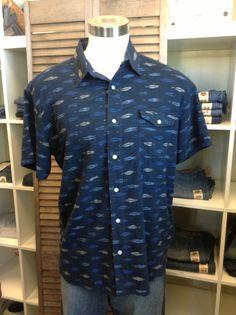Lucky Brand Mens Shirt Woven Buttondown Navy Blue