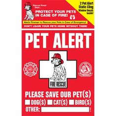 Please Save Our Pet(s) decal for emergency personnel. Display on windows & doors. MUST have for pet owners