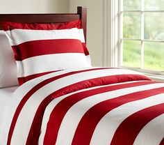 Rugby Stripe Duvet Cover | Pottery Barn Kids - bunk room- red white and blue