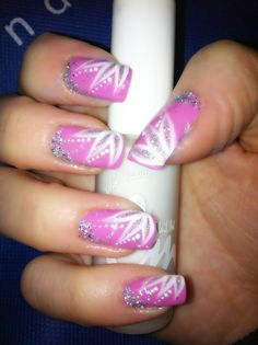 Pink and white glitter