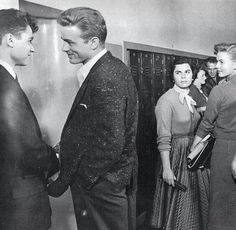 """Actors, Sal Mineo, James Dean, & Natalie Wood in the 1955 film, """"Rebel Without A Cause"""""""