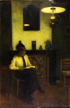 """huariqueje: """" Interior with Lamp Light - Jan Mankes 1916 Dutch Oil on canvas , 42 x Museum voor Moderne Kunst Arnhem """" Pierre Auguste Cot, People Reading, Jean Leon, Digital Museum, Dutch Painters, Collaborative Art, Dutch Artists, Art Nouveau, Museum Of Modern Art"""