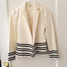 J.Crew Stripes Blazer Size: xxs; cotton and spandex; two buttons and faux pockets in front; no stains or rips; never worn! J. Crew Jackets & Coats Blazers